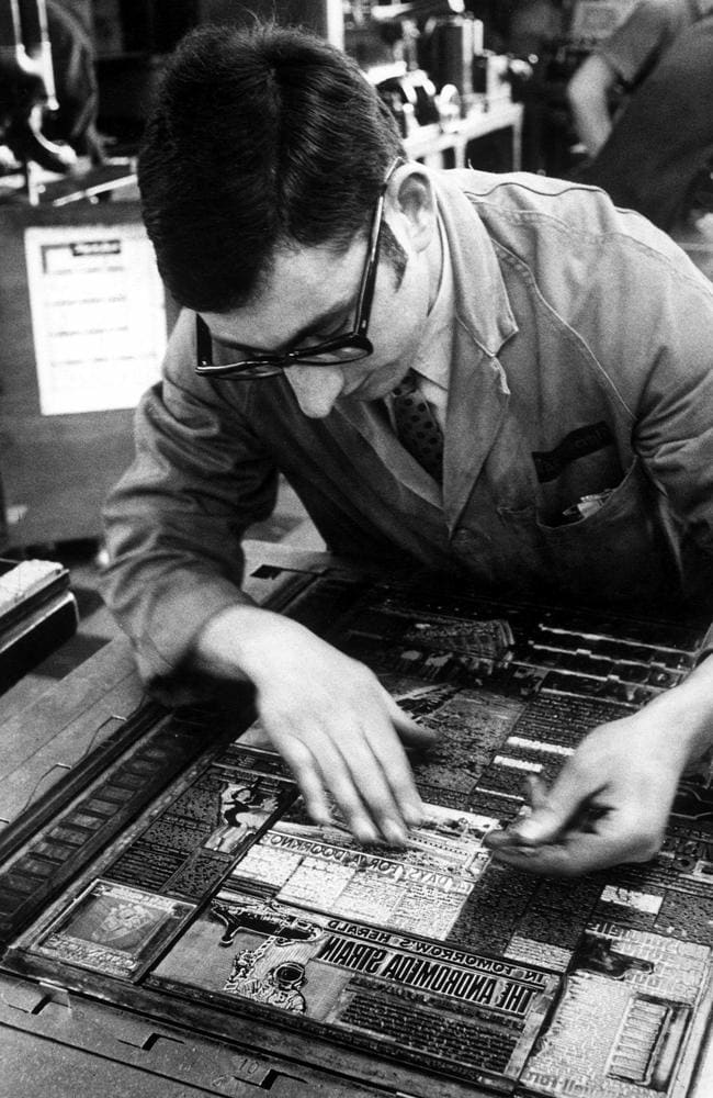 1973: Compositor making up a page.