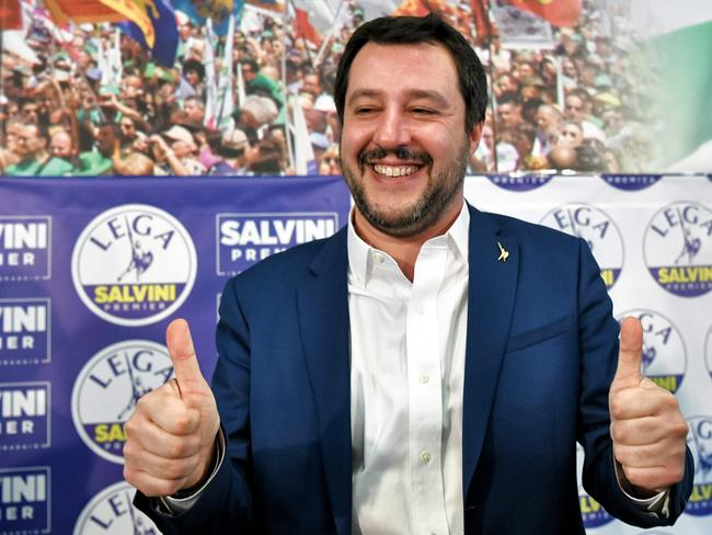 "Italian far-right leader Matteo Salvini says his coalition had the ""right and the duty"" to form a government after taking 37 per cent of the vote. Picture: AFP"