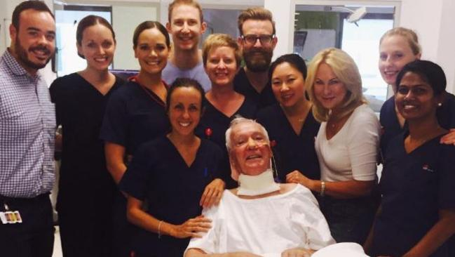 Kerri-Anne Kennerley and husband John with hospital staff before his return home to their extensively modified house. Picture: Instagram.