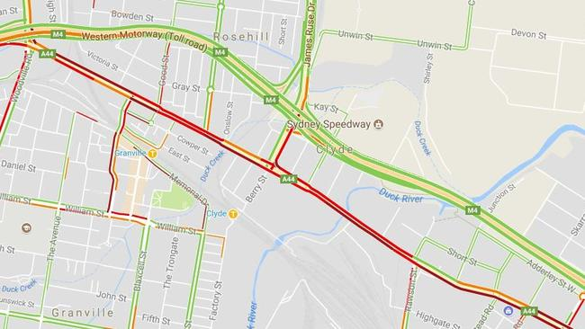 A Google Maps Live Traffic map on Tuesday evening. The widened and now tolled M4 (top) is congestion free. The un-tolled and much smaller Parramatta Road (centre) is full of traffic. Picture: Google Maps.