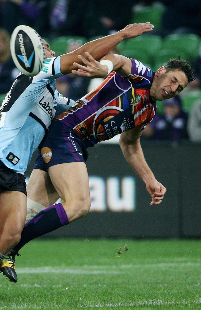 Billy Slater gets a pass away.
