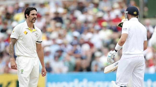 Mitchell Johnson stares at Joe Root during the second Test in Adelaide. Picture: Calum Robertson