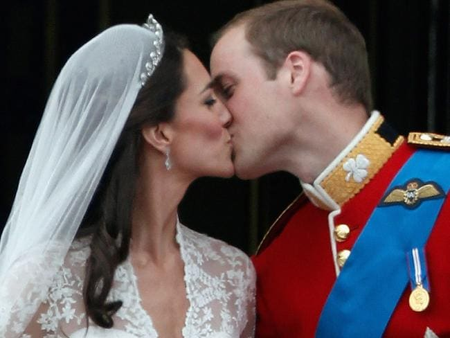 Kate and William shared their romantic moment on the balcony of Buckingham Palace in 2011. Picture: Getty