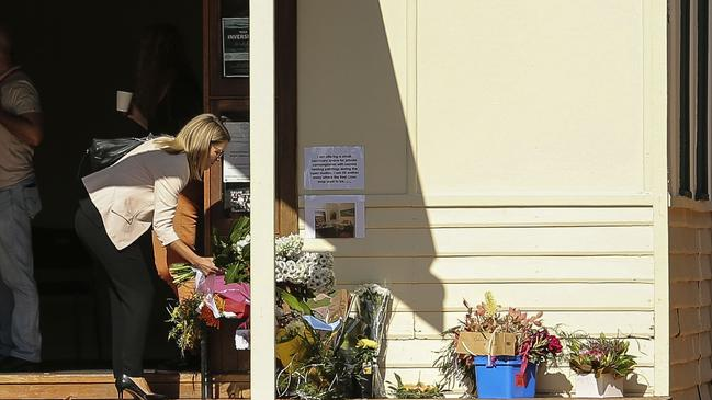 Flowers left at a community center in Margaret River. Picture: Michael Wilson, The West Australian.