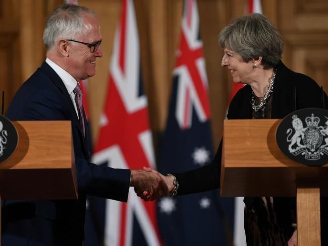 Mr Turnbull made his speech during a post-G20 trip to London where he met with British Prime Minister Theresa May. Picture: Lukas Coch/AAP