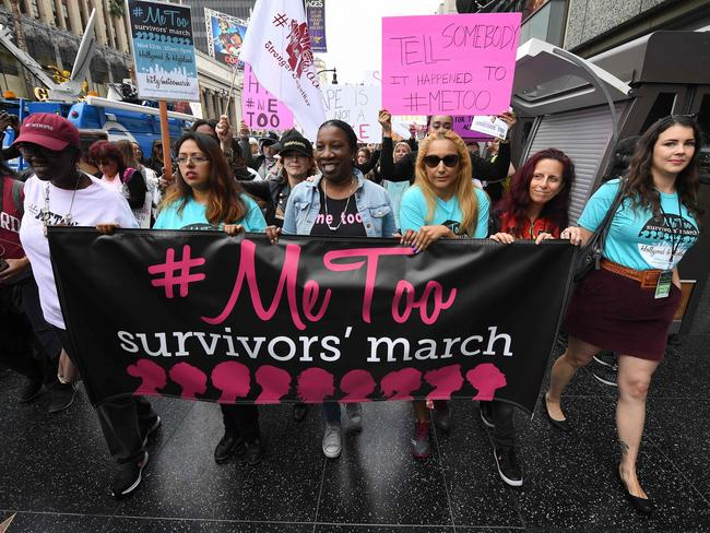 Women march in Hollywood. Picture: AFP