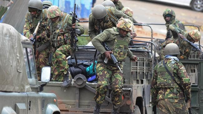 Kenya defence forces arrive at the Westgate mall in Nairobi.