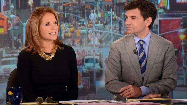 Katie Couric and George Stephanopoulos on set of Good Morning America in 2012. Picture: ABC.