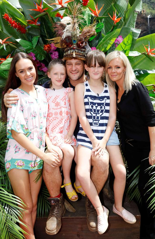 Reunited ... Brendan Fevola with his wife Alex and three daughters. Picture: Supplied