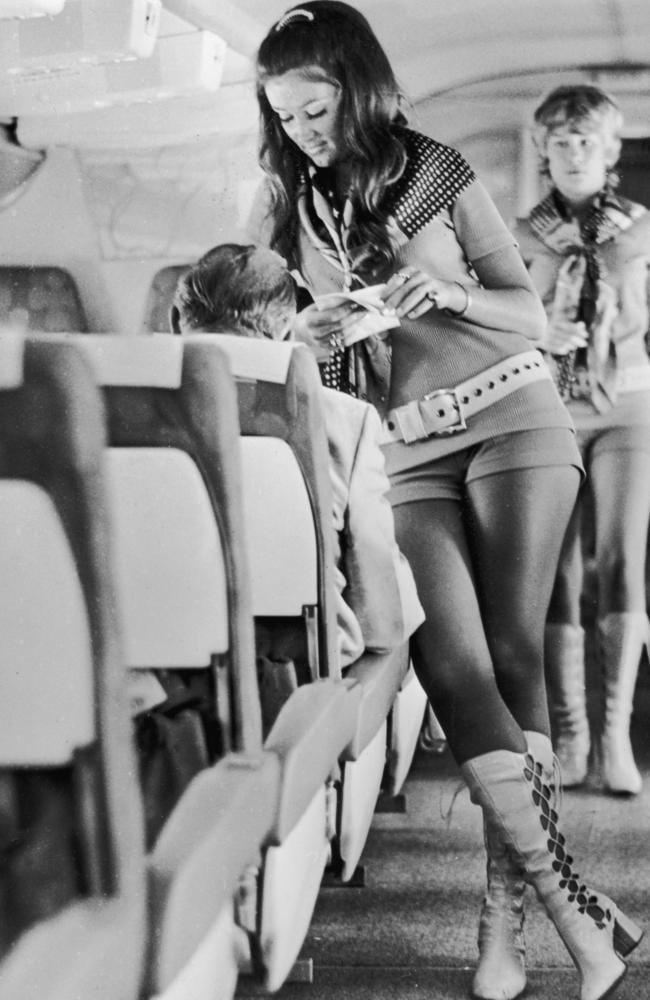 circa 1972: Stewardesses working for Southwest Airlines of Texas must be able to wear hot pants and kinky leather boots or they don't get the job. In accordance with the airline's motto, 'sex sells seats' interviewees are selected on the strength of their legs and their face. Drinks served during flights have names such as 'Passion Punch' and 'Love Potion'. (Photo by Alan Band/Keystone/Getty Images)