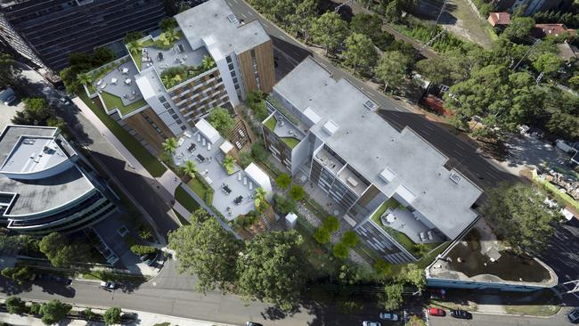 An aerial shot showing the rooftop terraces, a highlight of the development.