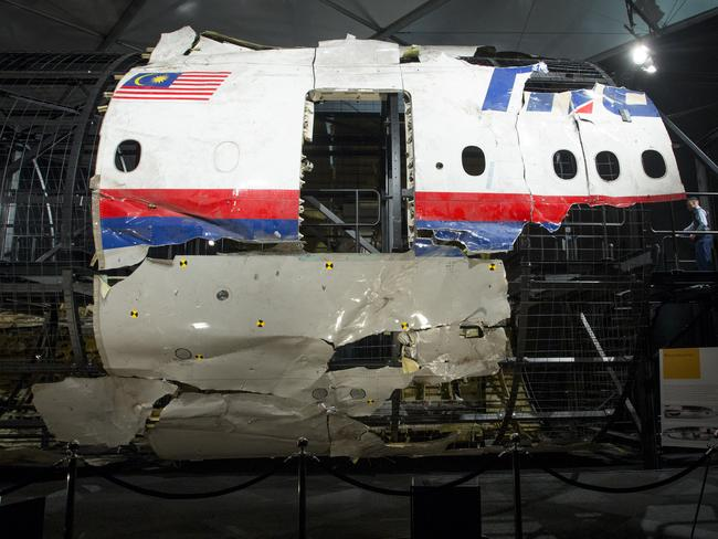 The downed MH17 plane partially reconstructed in Holland. Picture: Ella Pellegrini