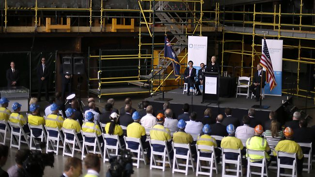 Hillary Clinton speaks at the Techport Australia shipbuilding facility in Adelaide.