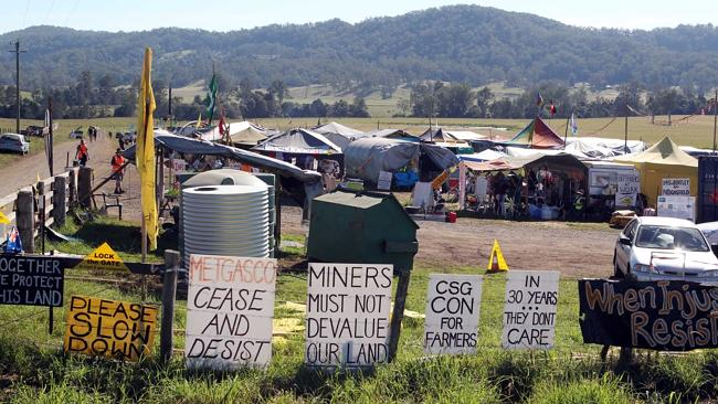 Anti coal seam gas protesters at Bentley on the eve of possible eviction from their camp site. Picture: Jason O'Brien