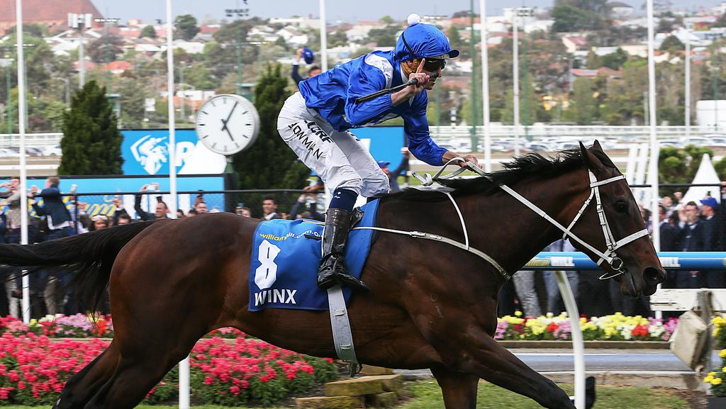 Hugh Bowman rides Winx to back-to-back Cox Plates. Picture: Ian Currie