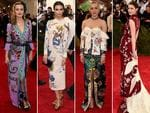 Pretty oriental patterns ... Georgia May Jagger, Emily Ratajkowski, Chloë Sevigny and Bee Shaffer at the Met Gala 2015. Picture: Getty