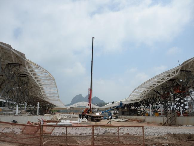 Construction site of the Transolimpica highway that will link the Olympic Village with the Deodoro Sport Complex.