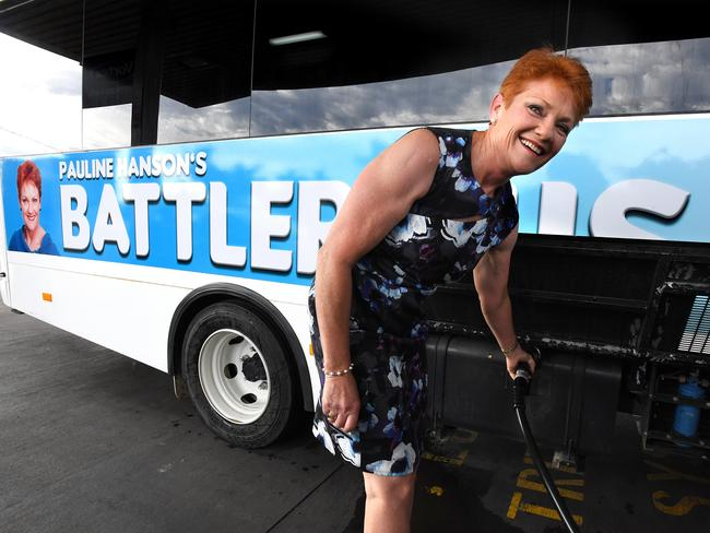 Pauline Hanson is touring regional Queensland seats on board the battler bus. Picture: Dave Hunt/AAP