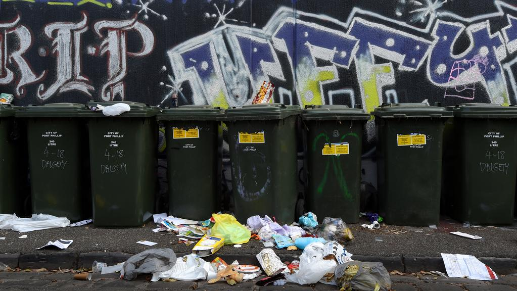 Garbage men have refused to enter a St Kilda laneway as violence and drug use spirals out of control. Picture: Penny Stephens