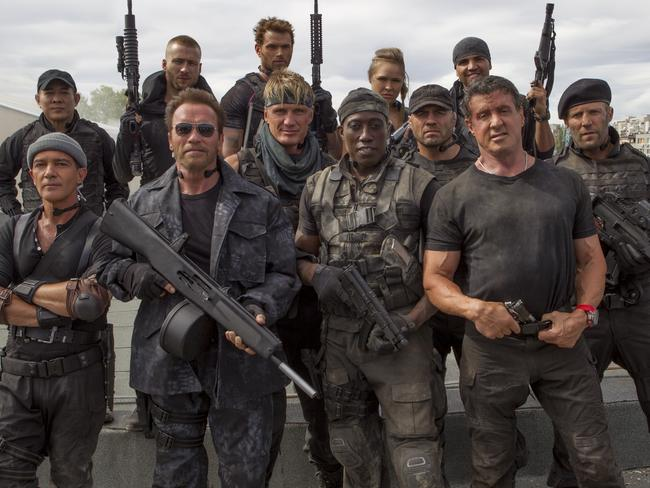 Sylvester Stallone, Arnold Schwarzenegger and Jason Statham star in The Expendables 3.