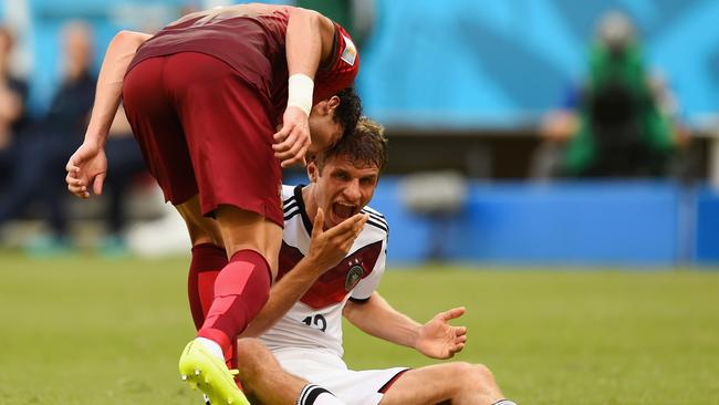 Pepe of Portugal headbutts Thomas Muller of Germany resulting in a red card.