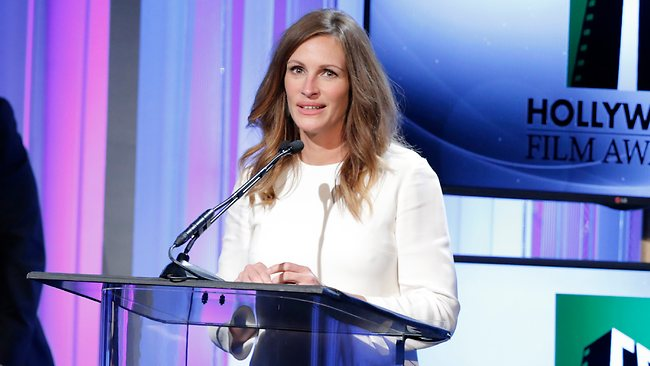 Julia Roberts accepts the Hollywood Supporting Actress award at the 17th Annual Hollywood Film Awards Gala in Beverly Hills for her role in 'August: Osage County'. Picture: AP