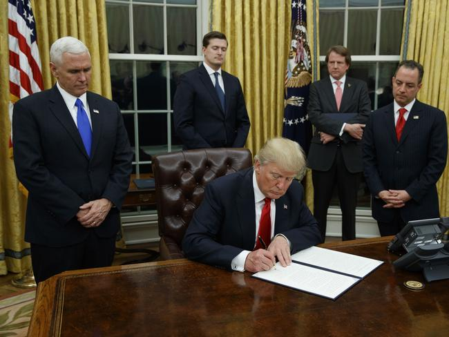 President Donald Trump has signed 20 memorandums and executive orders since his inauguration. Picture: AP/Evan Vucci