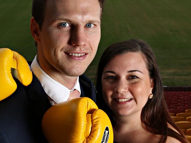 Jeff Horn and Wife Joanna Horn inside the Suncorp Stadium  . Pic Annette Dew