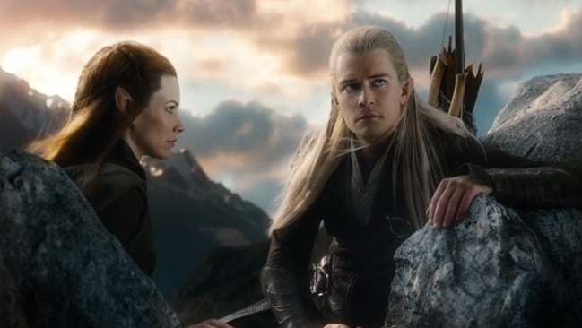 Cute couple ... Evangeline Lilly and Orlando Bloom in a scene from the third Hobbit film.