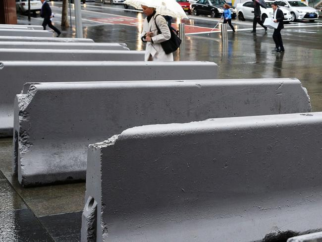 Concrete barriers in Martin Place. Clover Moore put them in without consulting the police, who say there is no terror threat there.