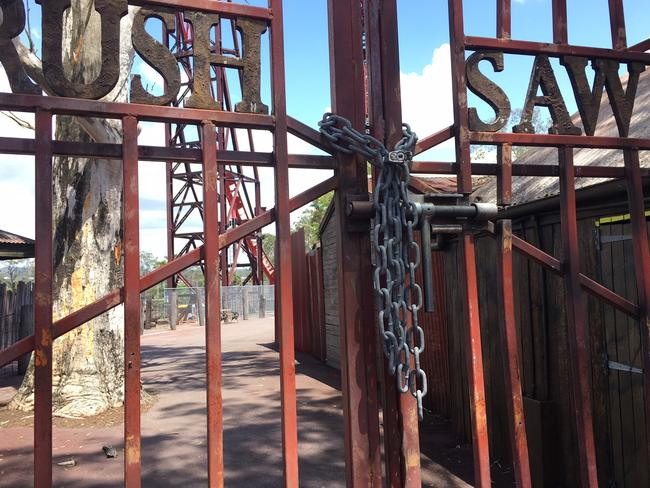 The Buzz Saw Ride is locked shut adjacent to where the fatal incident happened.