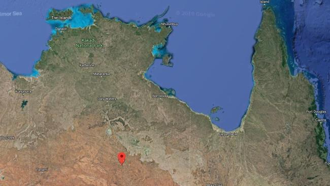 Tennant Creek, pinned in red, is located about 500kms north of Alice Springs, in the NT.
