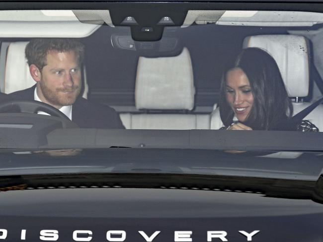 Prince Harry and Meghan Markle leave the Queen's Christmas lunch at Buckingham Palace. Picture: Philip Toscano/PA via AP