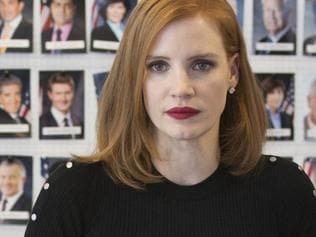 Jessica Chastain in a scene from the film Miss Sloane directed by John Madden.