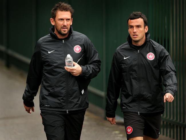 Tony Popovic with striker Mark Bridge.