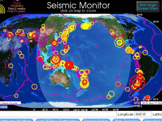 Just to scare you, here is a map of seismic activity around the world so far this month