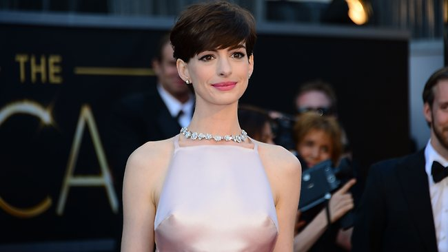 Anne Hathaway's nipples have inspired their own Twitter account. Picture: AFP
