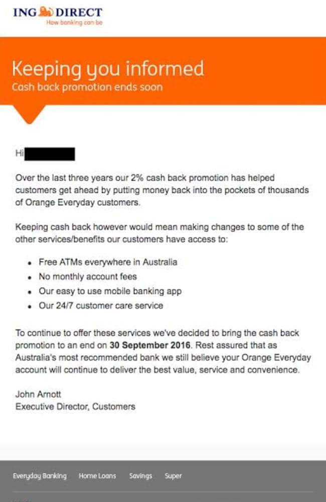 The email sent to ING Direct customers telling them about the cancellation of the deal.
