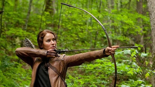 Jennifer Lawrence as Katniss Everdeen in a scene from The Hunger Games.