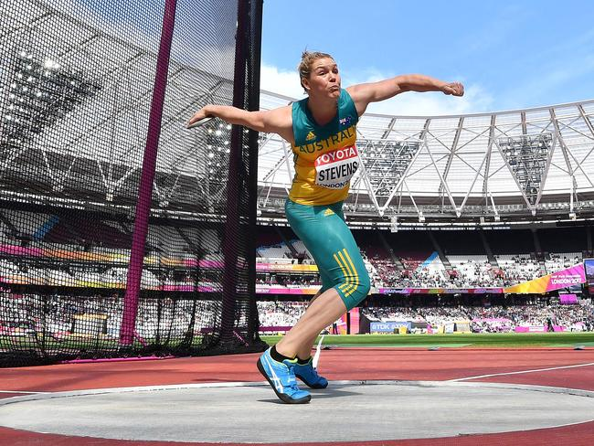 Australia's Dani Stevens competes in the women's discus qualifiers.