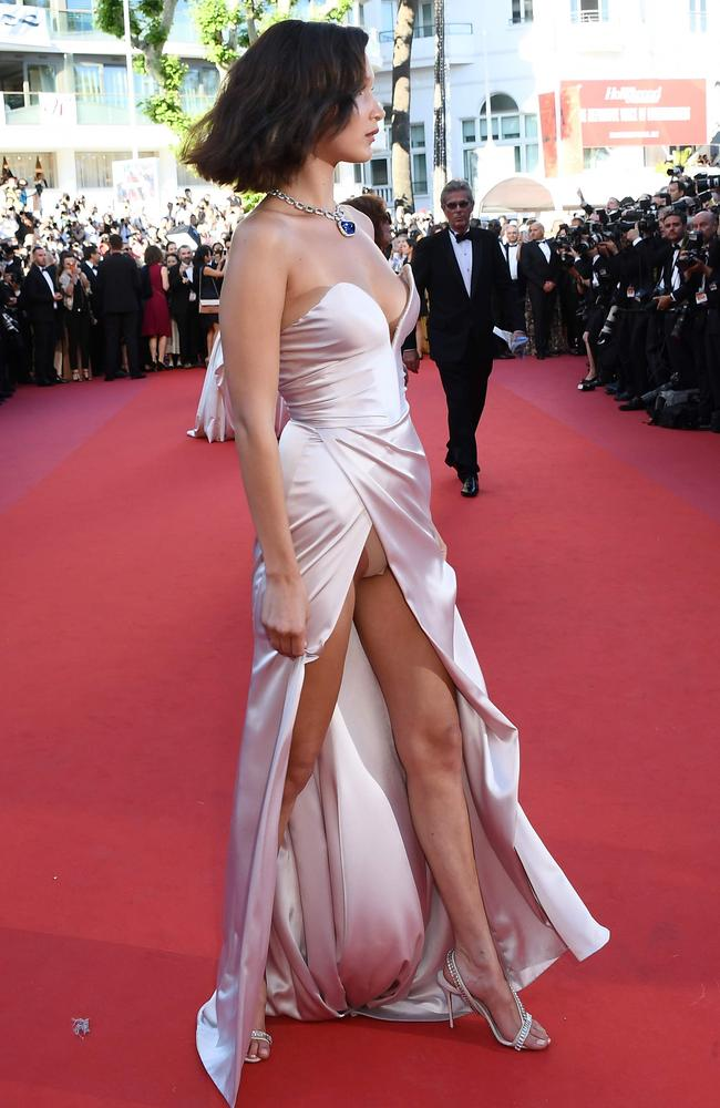 Bella Hadid dazzled in Cannes. Picture: Anne-Christine Poujoulat/AFP
