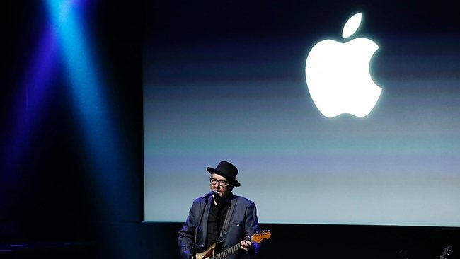 Elvis Costello, performs at Apple's iPhone 5C and 5S event. Picture: AP