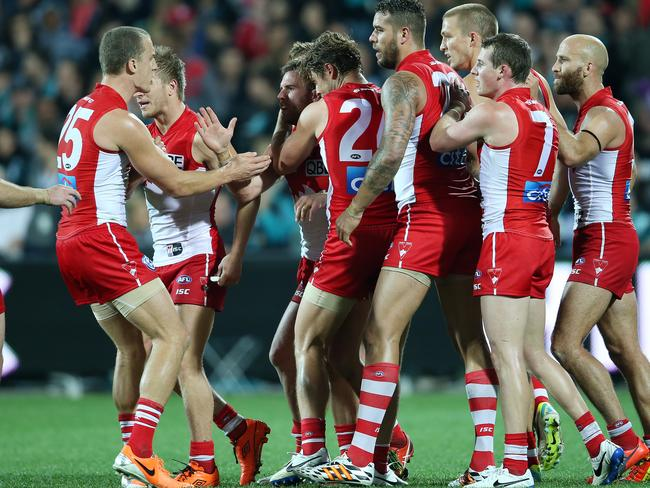 The Sydney Swans celebrate Ben McGlynn's goal on half time. photo Calum Robertson