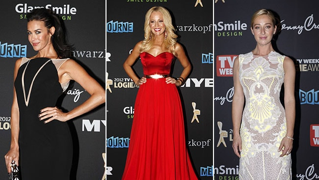 The glamorous Megan Gale, Carrie Bickmore and Asher Keddie arrive at the 2012 Logies Awards.