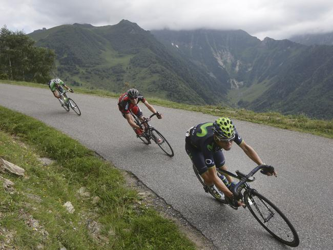 Spain's Alejandro Valverde, right, Tejay van Garderen of the US, centre, and Netherlands' Bauke Mollema, left.