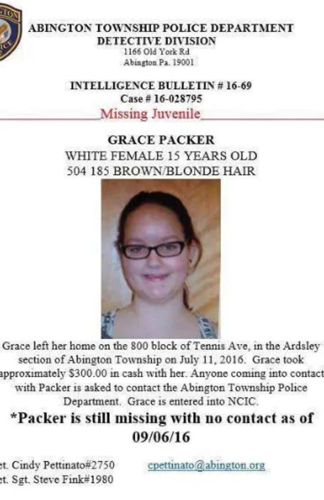 The missing poster for Grace Packer, who was found dismembered.