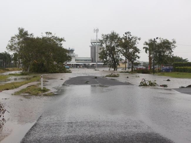 Flooding at Rockhampton airport after Cyclone Marcia. Picture: Geoff Sinclair