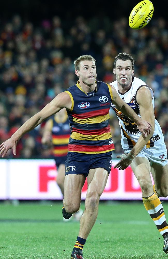 Crows defender Daniel Talia is holding up his team's defence. Picture: Sarah Reed