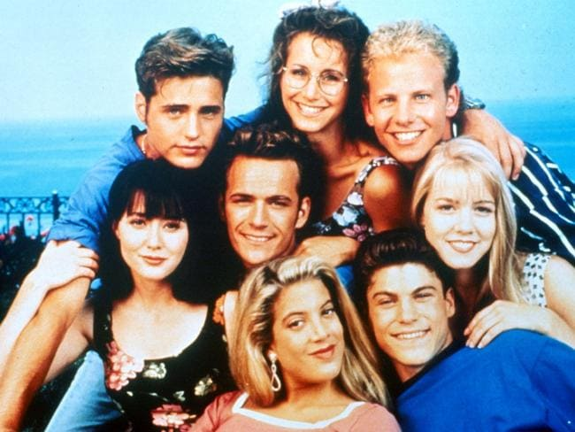 Big break ... Brian Austin Green, front right, with his Beverly Hills 90201 casemates. Picture: Supplied