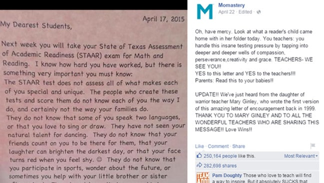 a modern version of the 1999 letter has been circulating on facebook